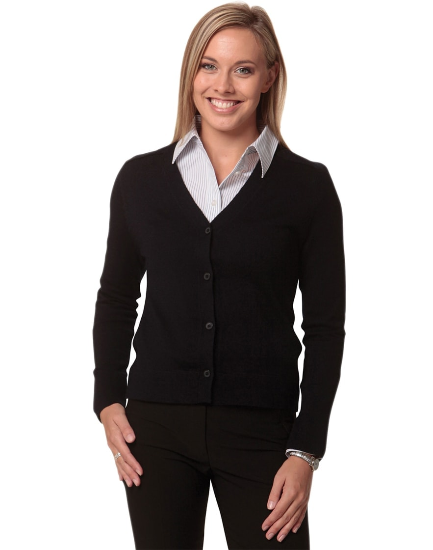 M9602 Women's V-Neck Long Sleeves Cardigan