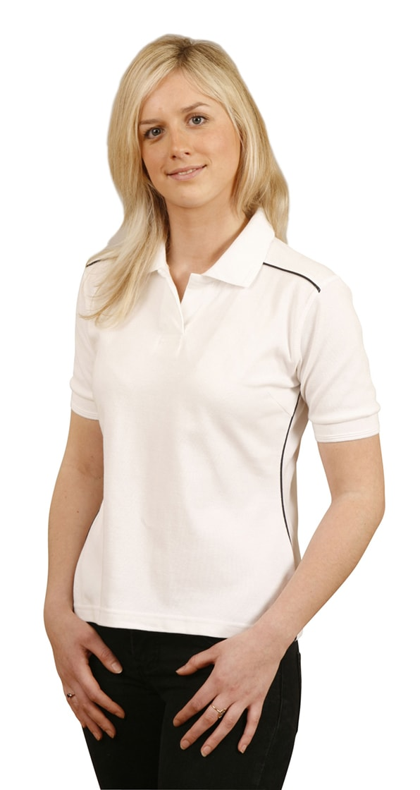 PS26 Ladies' Pure Cotton Contrast Piping Short Sleeve Polo