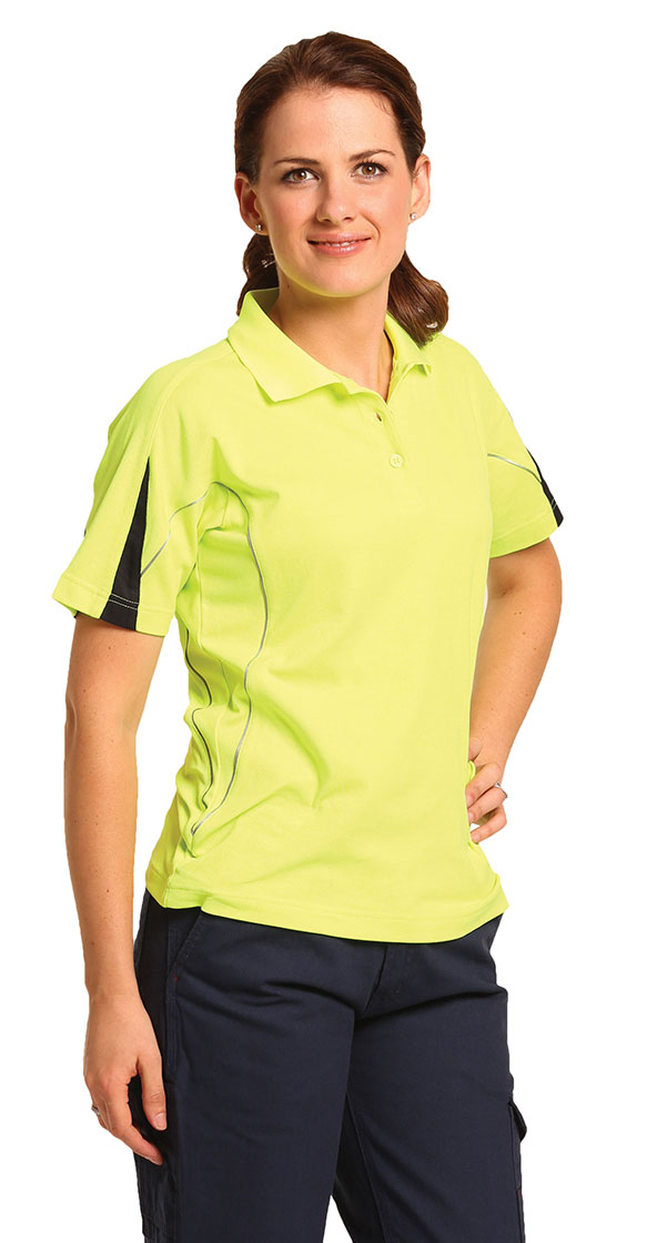 SW26A Ladies' TrueDry® Hi-Vis Polo with Reflective Piping