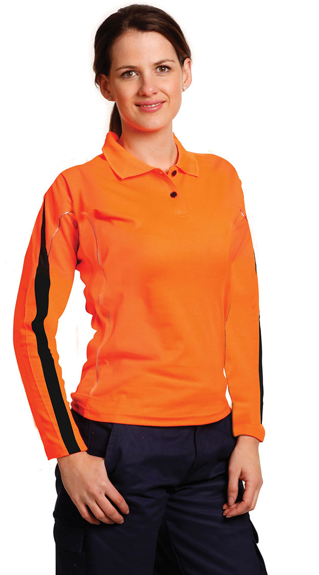 SW34A Ladies' TrueDry® Hi-Vis Long Sleeve Polo with Reflective Piping