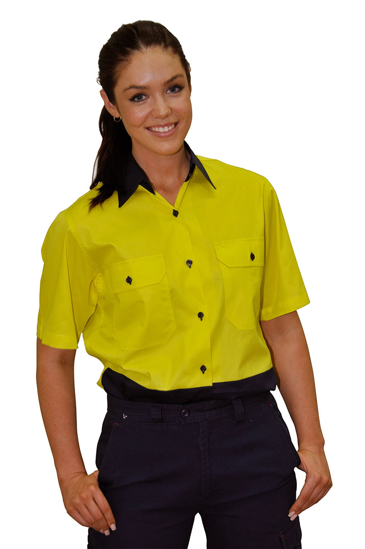 SW63 Ladies' High Visibility Cool-Breeze Cotton Twill Safety Shirts