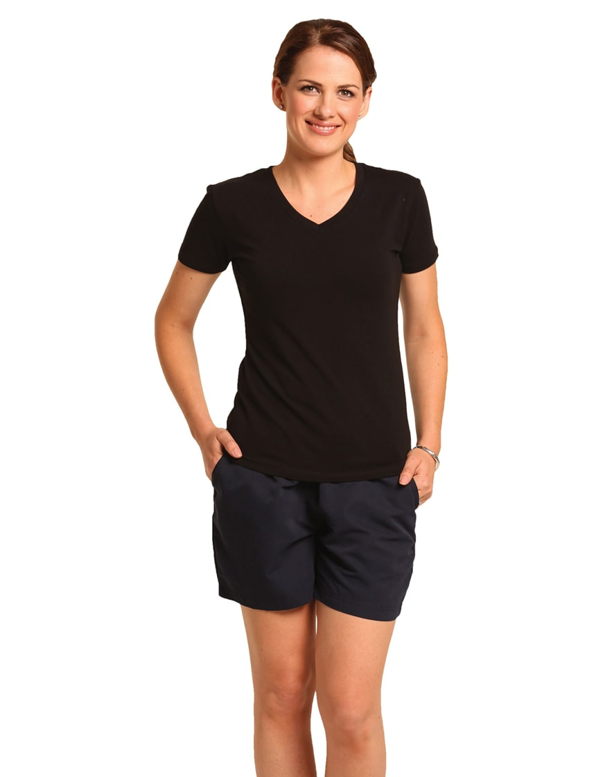 TS04A Ladies' Cotton Stretch V-Neck Short Sleeves Tee Shirt
