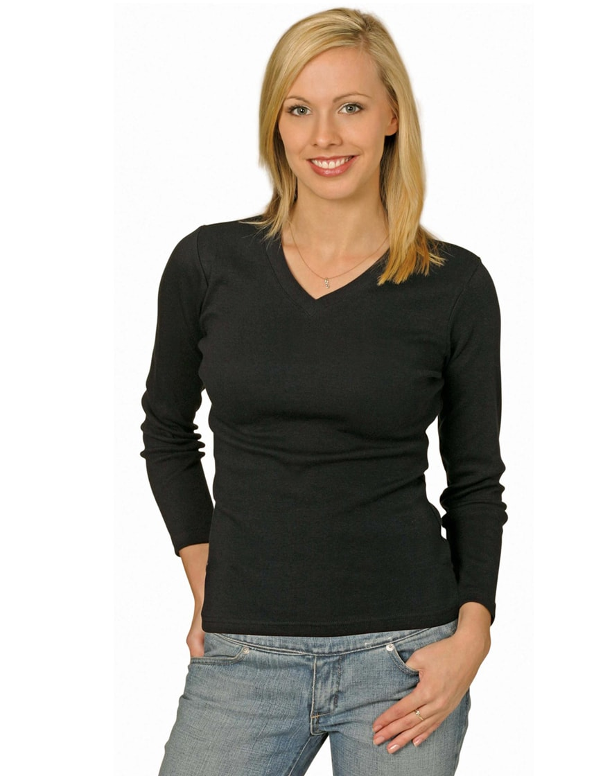 TS05A Ladies' Cotton Stretch V-Neck Long Sleeves Tee Shirt